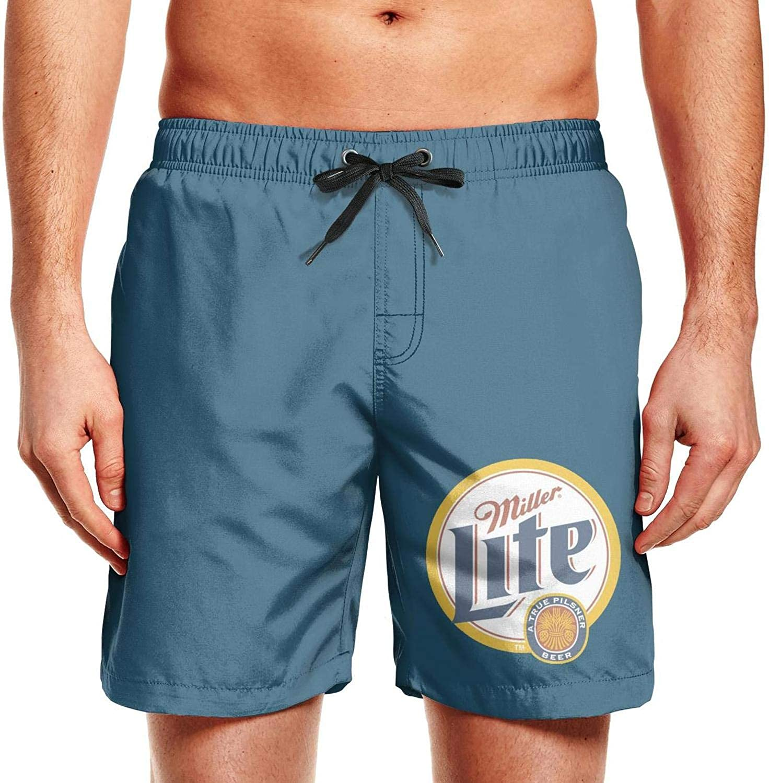 Mens Surfing Beachwear Quick Dry Beach Board Shorts Miller-Lite-Logo Swim Trunks