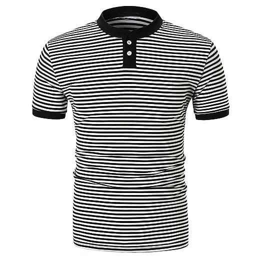 b17b8be67 Elogoog Men's Classic Slim Fit 2 Buttons Polo Shirt Striped Cotton Short  Sleeve Work Polo T