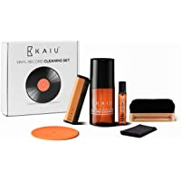 Vinyl Record Cleaning Kit by KAIU - 5-in-1 Record Cleaning Solution, Stylus Cleaner, Carbon and Velvet Brush & Microfiber Cloth - Premium LP Maintenance Set to Keep Your Vinyl Records Like New