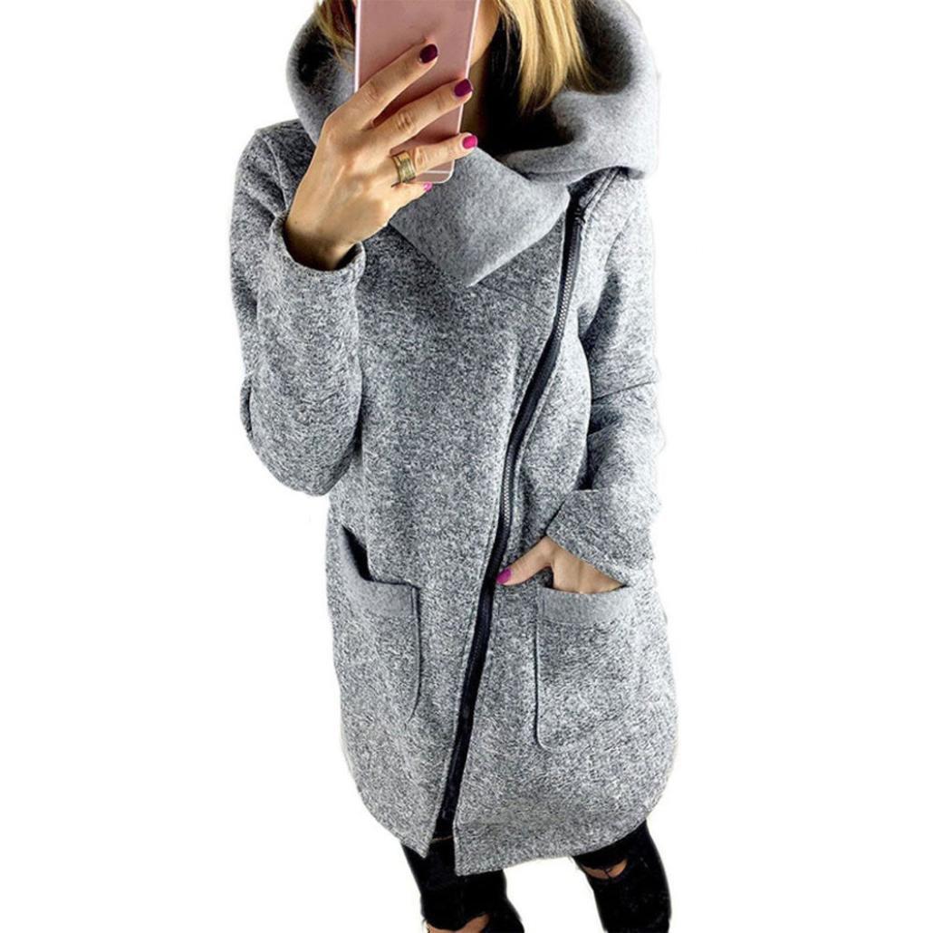 Tsmile Winter Women Coat Casual Long Zipper Sweatshirt Hooded Jacket Outwear Tops (S, Gray)