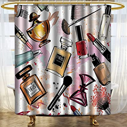 NALAHOMEQQ Girly Decor Shower Curtain Set By Cosmetic And Make Up Theme Pattern With Perfume