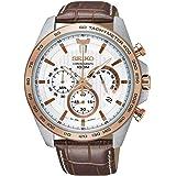 Seiko SSB306P1 Men's Chronograph White Dial Brown Strap Watch