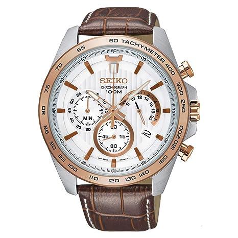 Seiko Ssb306 P1 Men's Chronograph White Dial Brown Strap Watch by Seiko