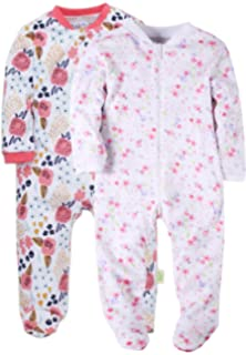 64b8c9da32 Baby Girls Footed Pajama - 100% Cotton Zip Front Sleep and Play Sleeper  Soft Sleeper