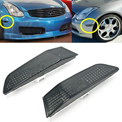 FAYUE Compatible With 2003-2007 Infiniti G35 2Dr Coupe Smoke Bumper Lights Park Side Marker: Automotive [5Bkhe1000471]