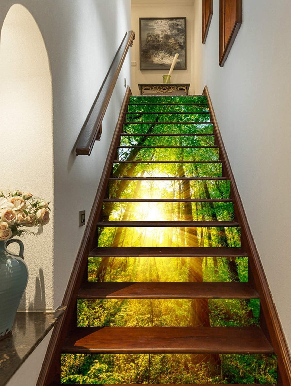 FLFK 3D Sol Verde Árboles Bosque auto-adhesivos Pegatinas de Escalera pared pintura vinilo Escalera calcomanía Decoración 39.3 pulgadasX 7.08 pulgadasX 13Piezas: Amazon.es: Bricolaje y herramientas