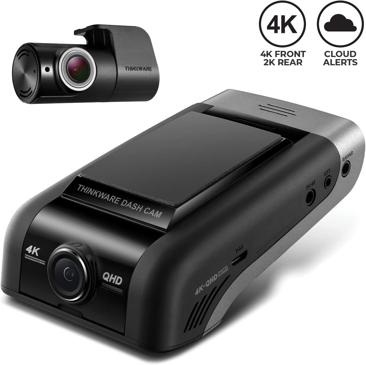 THINKWARE U1000 Flagship Dual Channel Dash Cam | 4K UHD 3840X2160 Front 2K QHD 2560X1440 Rear | Built-in WiFi, GPS, G-Sensor, Super Night Vision | Thinkware Cloud Ready | Advanced Parking Mode