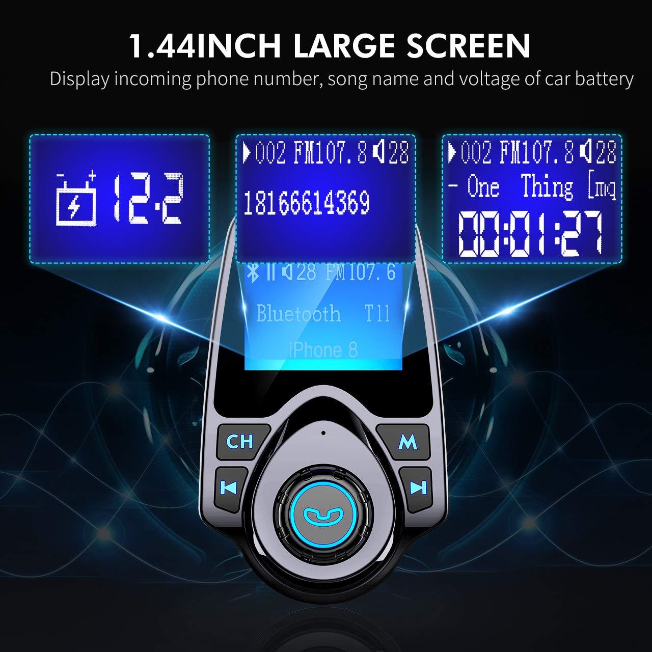 Cl/é USB Mpow Transmetteur FM Bluetooth Adaptateur Bluetooth Autoradio Kit Main Libre Voiture sans Fil Chargeur Allume Cigare Double Port USB Ecran de 1.44 Audio Port 3,5mm Support Carte TF