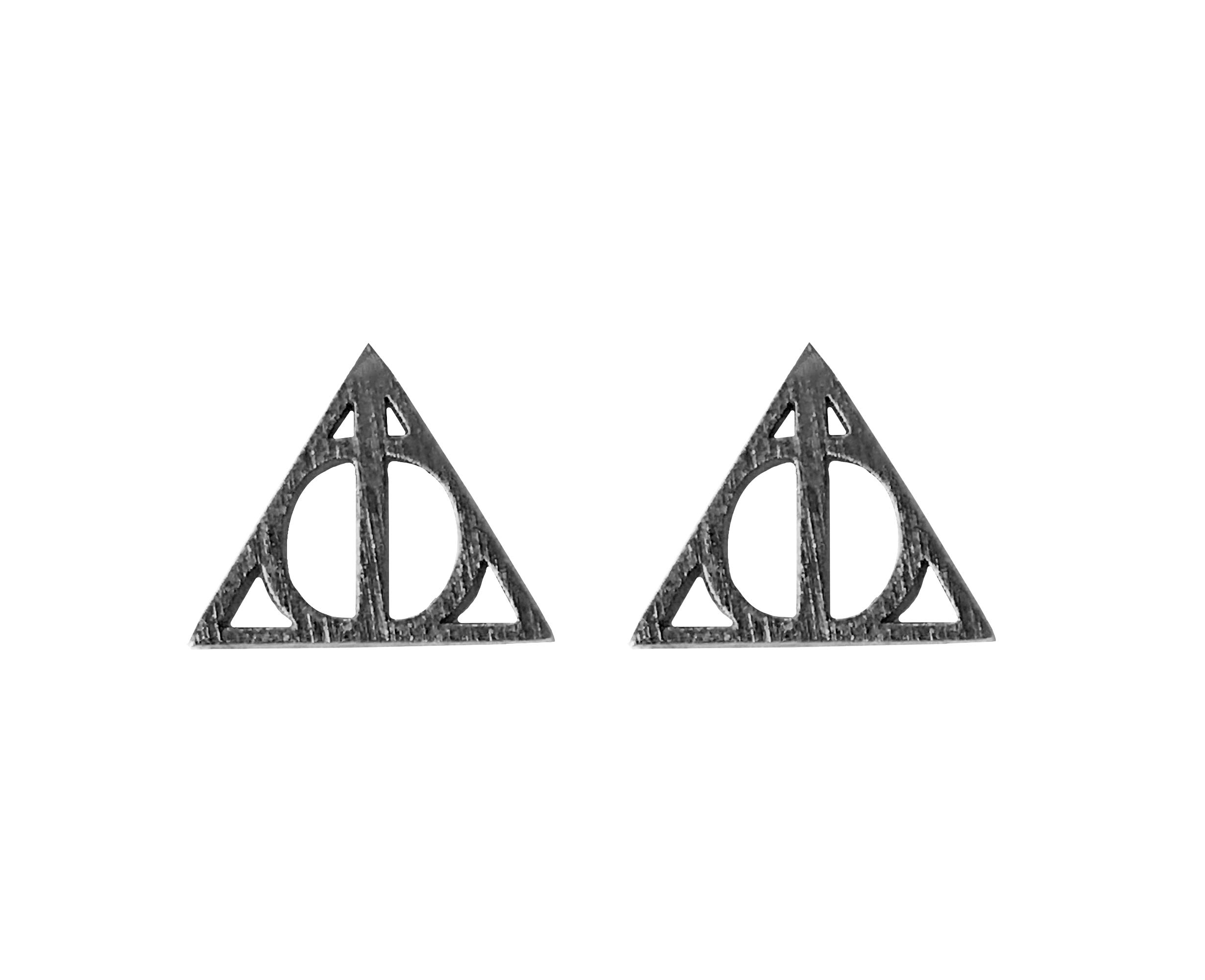 Altitude Boutique Geometric Triangle Stud Pyramid Earrings Punk Earrings (Gold, Silver) (Carbon Black)
