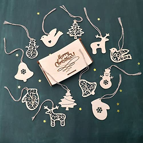 set of wooden christmas decorations wood christmas tree decor laser cut christmas ornaments - Wooden Laser Cut Christmas Decorations
