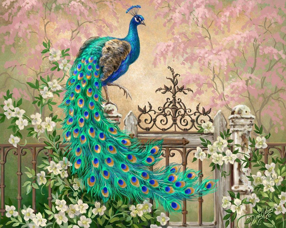 DIY Paint by Numbers Kit for Adults - Peacock Green Blue Paint by Numbers Landscape Scene Paintings Arts Craft for Home Wall Decor   Pre-Printed Art-Quality Canvas, 3 Brushes, 24 Acrylic Paints 20x16'' by Alto Crafto