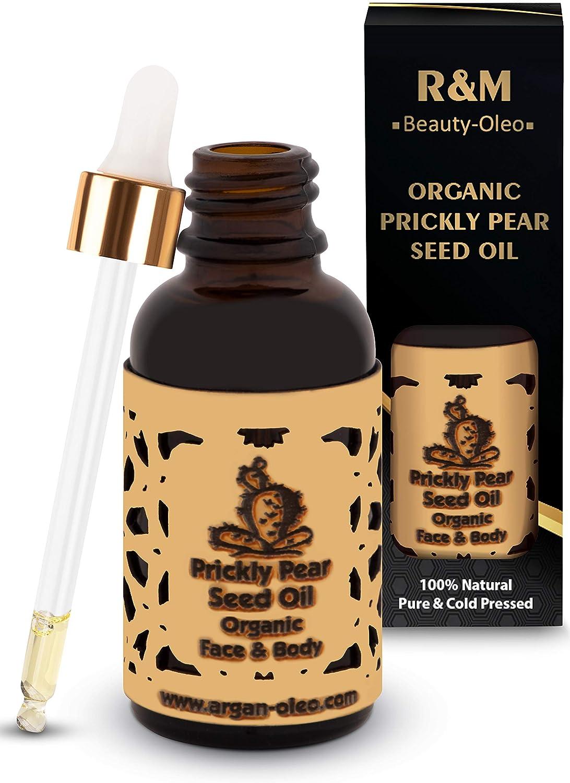 R&M Aceite orgánico de semilla de nopal -Aceite de nopal de calidad superior para cara, cuerpo y cabello - Aceite de semilla de nopal para una piel más bella y una cara pura - Aceite de cactus 30