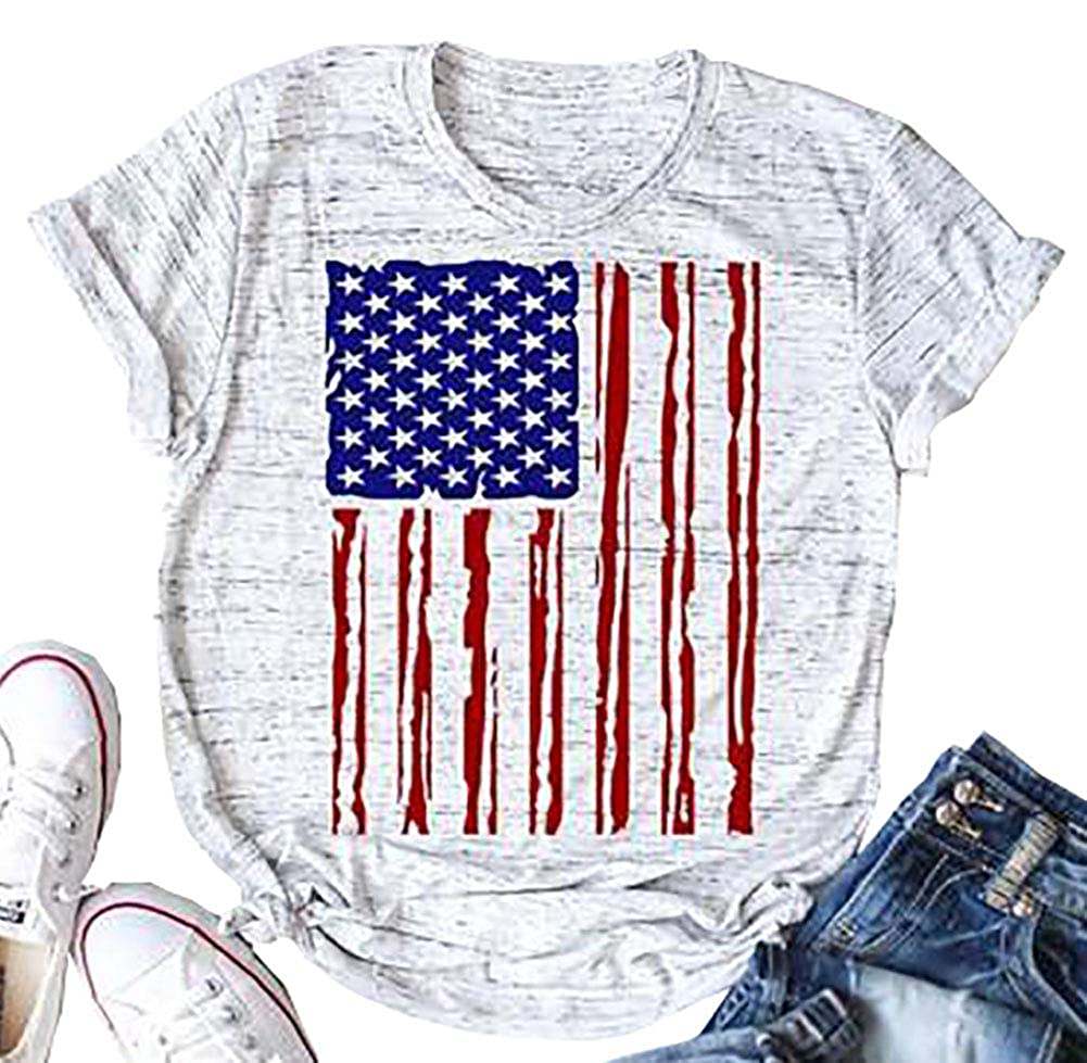 Women American Flag T-Shirt 4th of July Stars Stripes Patriotic Casual Tops Graphic Tees