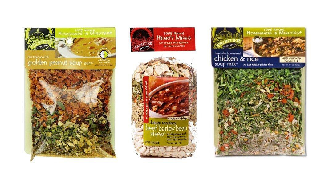 Frontier Soups 100% Natural Soup Mix 3 Flavor Variety Bundle, (1) each: San Fran Thai Golden Peanut, Dakota Beef Barley Bean Stew, KY Chicken & Rice (4.25-14 Ounces)