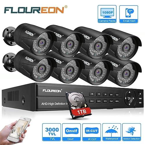 FLOUREON Sistema de Cámara CCTV 8CH 1080N AHD DVR Kit 1TB HDD 8PCS 3000TVL 1080P 2 0MP Seguridad de Cámara IP Resistente al Agua Aire Libre TVI CVI Analógico Detección de Movimiento Visión Nocturna