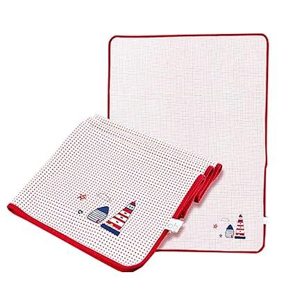 Almohadilla para cambiar pañales impermeable para bebés de verano Estera para dormir,Rojo 80x60cm