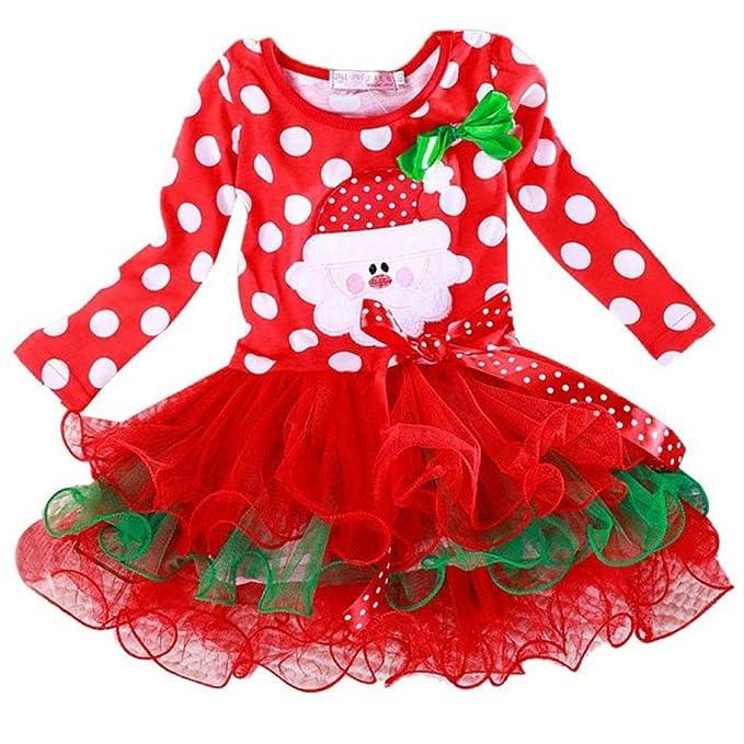 bae74ba3b TRENDINAO Baby Toddler Kids Girls New Year Christmas Outfit Polka Dot Princess  Dress Long Sleeve