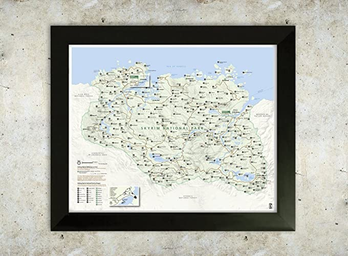 amazon com skyrim map national park style 16x20 poster handmade