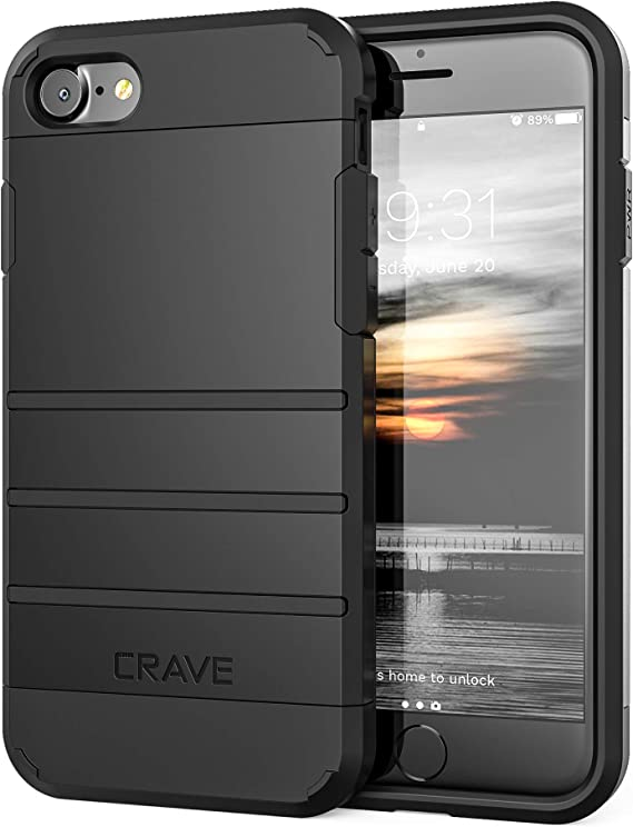 Amazon Com Crave Iphone Se 2020 Iphone 8 Case Iphone 7 Case Strong Guard Protection Series Case For Apple Iphone Se 8 7 4 7 Inch Black