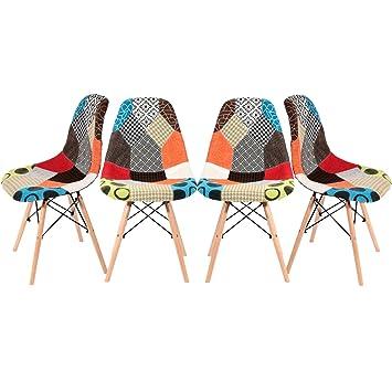 Conjunto de 4 sillas de tela de Panana, estilo retro de Patchwork, de madera, para comedor, salón u oficina