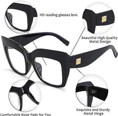 FEISEDY Womens Square Oversized Blue Light Filtering Reading Glasses B2627
