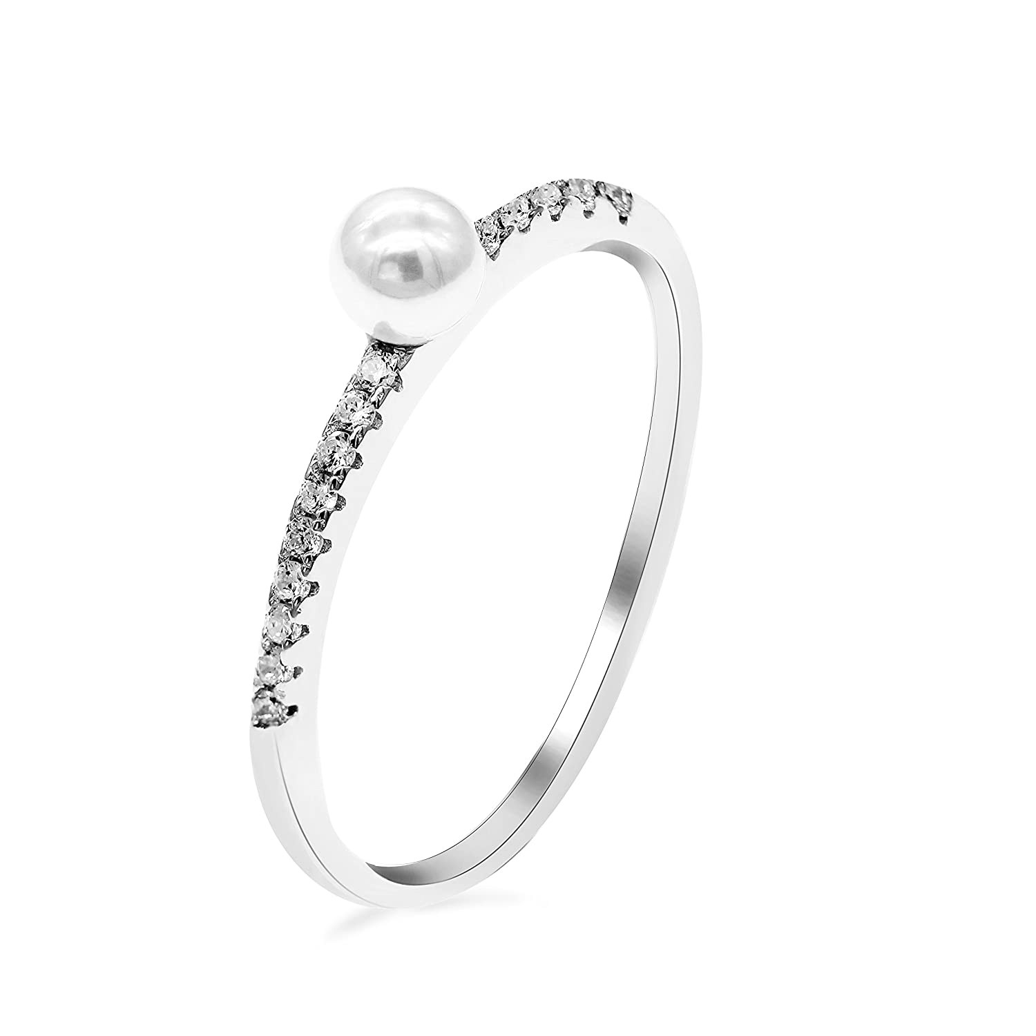 Uloveido 1.2g 925 Sterling Silver Half Eternity Band Simulated White Pearl Solitaire Stackable CZ Ring for Women, Gift Boxed (Size 6 7 8 9 10) WE248