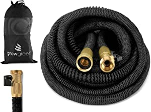 GrowGreen Heavy Duty 50 Feet Expandable Hose Set, Strongest Garden Hose On Earth. with All Solid Brass Connector + Storage Sack, 2019 Improved Design