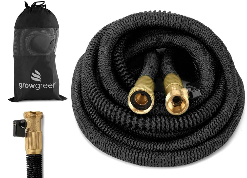 GrowGreen HEAVY DUTY 50' Feet Expandable Hose Set, Strongest Garden Hose On Earth. With All Solid Brass Connector + Storage Sack