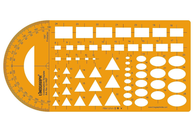 製図やデザインテンプレートに 図形ステンシル 製図スケール オレンジ Lino-1827 B01DLZBWFM Design-3