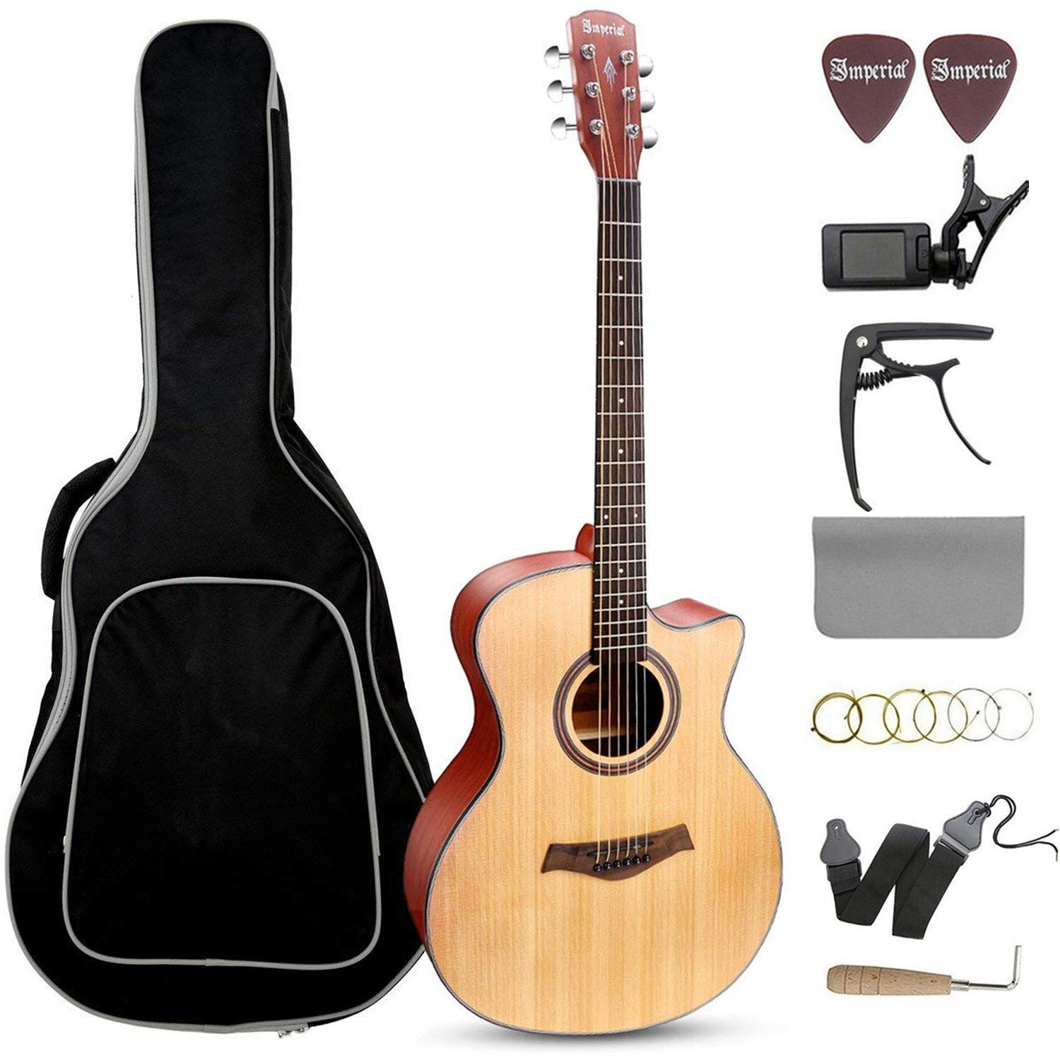 Beginner Acoustic Guitar 41'' Full Size GA Cutaway Spruce Wooden Guitars Kit - Starter Guitar Pack for Adults (Grand Auditorium) - Bundle with Gig Bag, Capo, Tuner, Strings, Strap, Picks