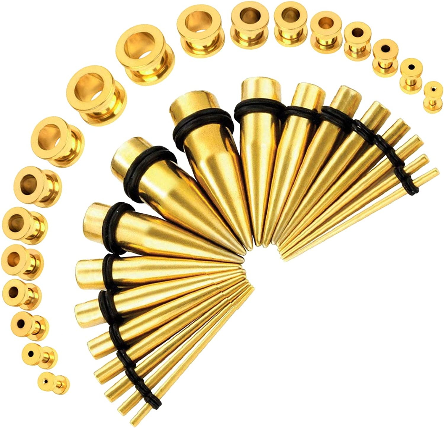 Tan Stic New Pair Pair of Screw on Picture Plugs gauges Rainbow