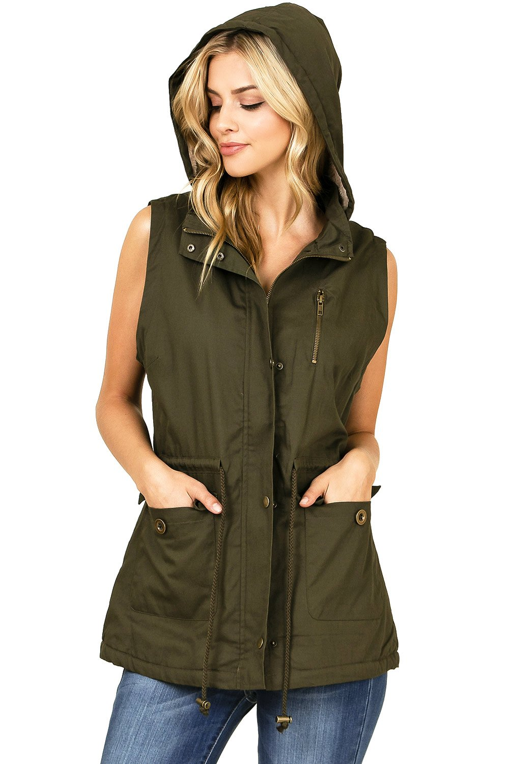Cest Toi Women's Hooded Button Down Cargo Vest (L, Olive)