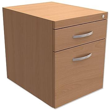 Trexus - Silla fija archivador de pedestal para voladizo escritorio 2 cajones madera de haya 400 x D525 420 x 470 mm): Amazon.es: Oficina y papelería