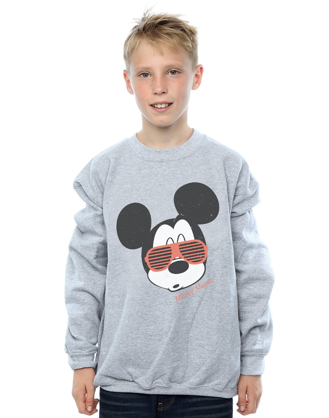 Disney Boys Mickey Mouse Sunglasses Sweatshirt Sport Grey 9-11 Years