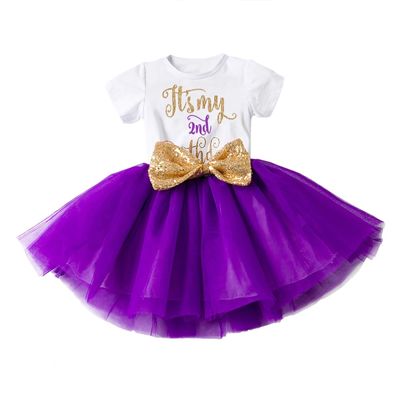 FYMNSI Newborn Baby Girls It's My 1st/2nd Birthday Cake Smash Dress Infant Shiny Printed Sequin Bowknot Tutu Princess Dress