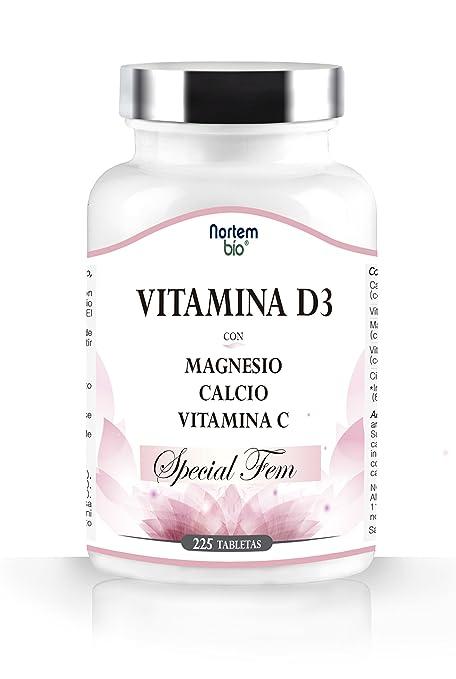Vitaminas D3 enriquecida con Calcio, Magnesio y Vitamina C. Especial FEM. Alta resistencia