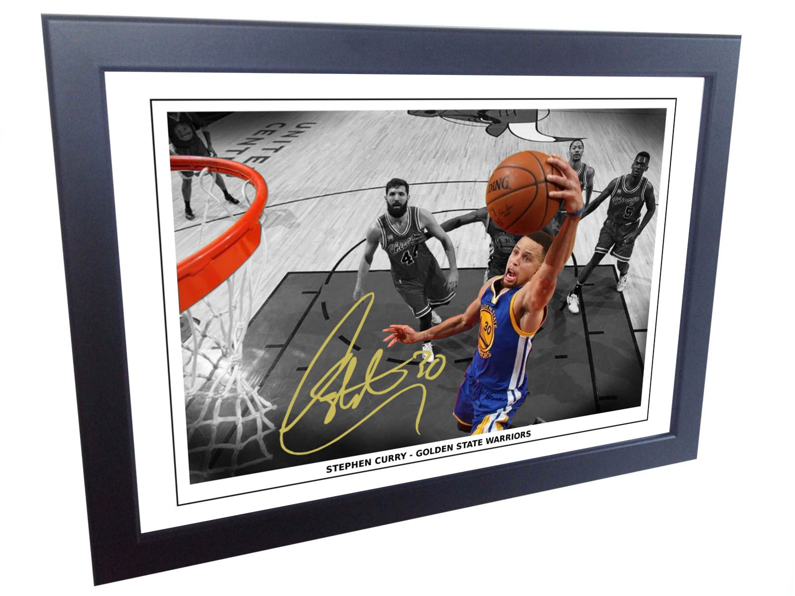 12x8 A4 Signed Stephen Curry Golden State Warriors Autographed Basketball Photo Photograph Picture Frame Gift