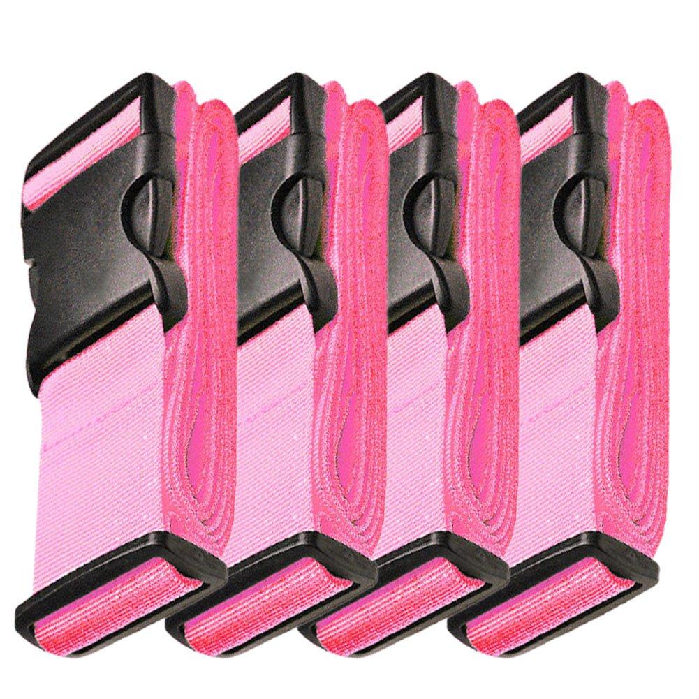 Hibate Adjustable Luggage Strap Suitcase Straps Bag Belt Travel Accessories - Pink, 4 Pack
