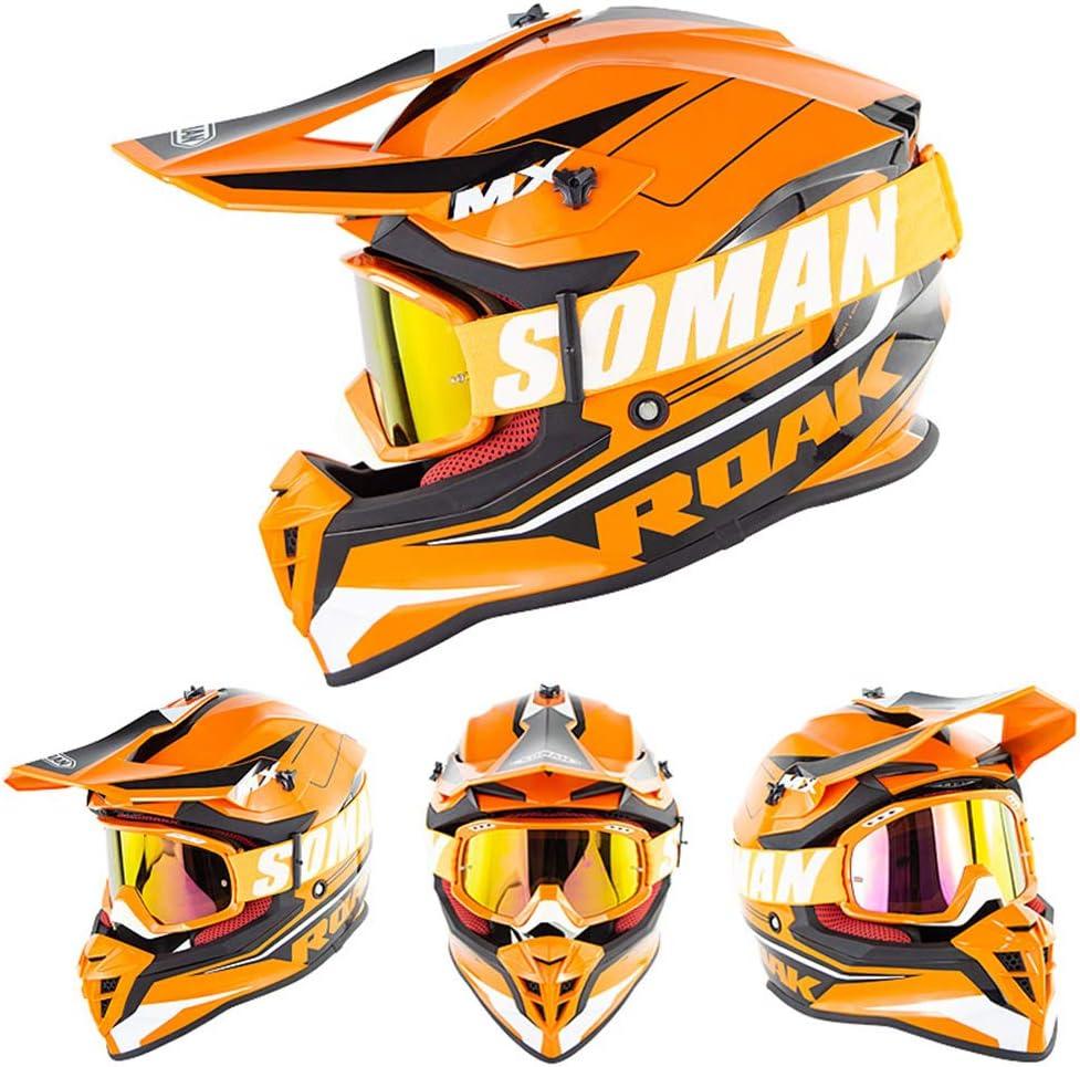 Moto Cross Motorrad Helme Sturzhelm Erwachsene Downhill Fullface Enduro ATV Quad Offroad Helme Integralhelm ECE-Zertifizierung F/ür M/änner Frauen OD-B Motocross Motorradhelm Helm Mit Brille