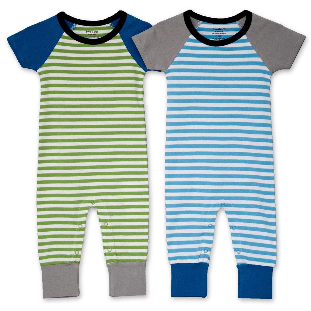 Snappy Stripes Twin Boys Romper Set
