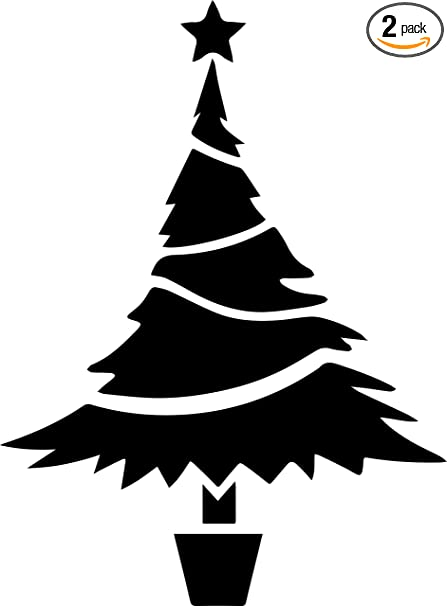 Amazon Com Christmas Tree Icon Black Set Of 2 Premium