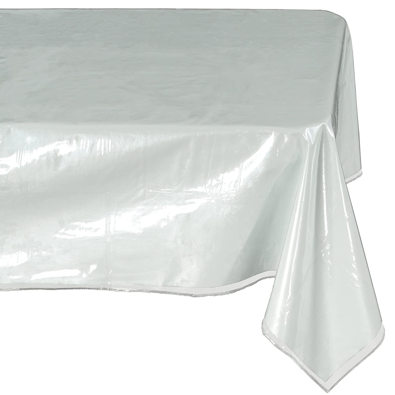 Ottomanson Heavy Duty Clear Plastic Tablecloth Clear Table Cover Protector White Sewn Edges Border Tablecloth, 54 X 54, Clear 54 X 54 TAB1999-54X54