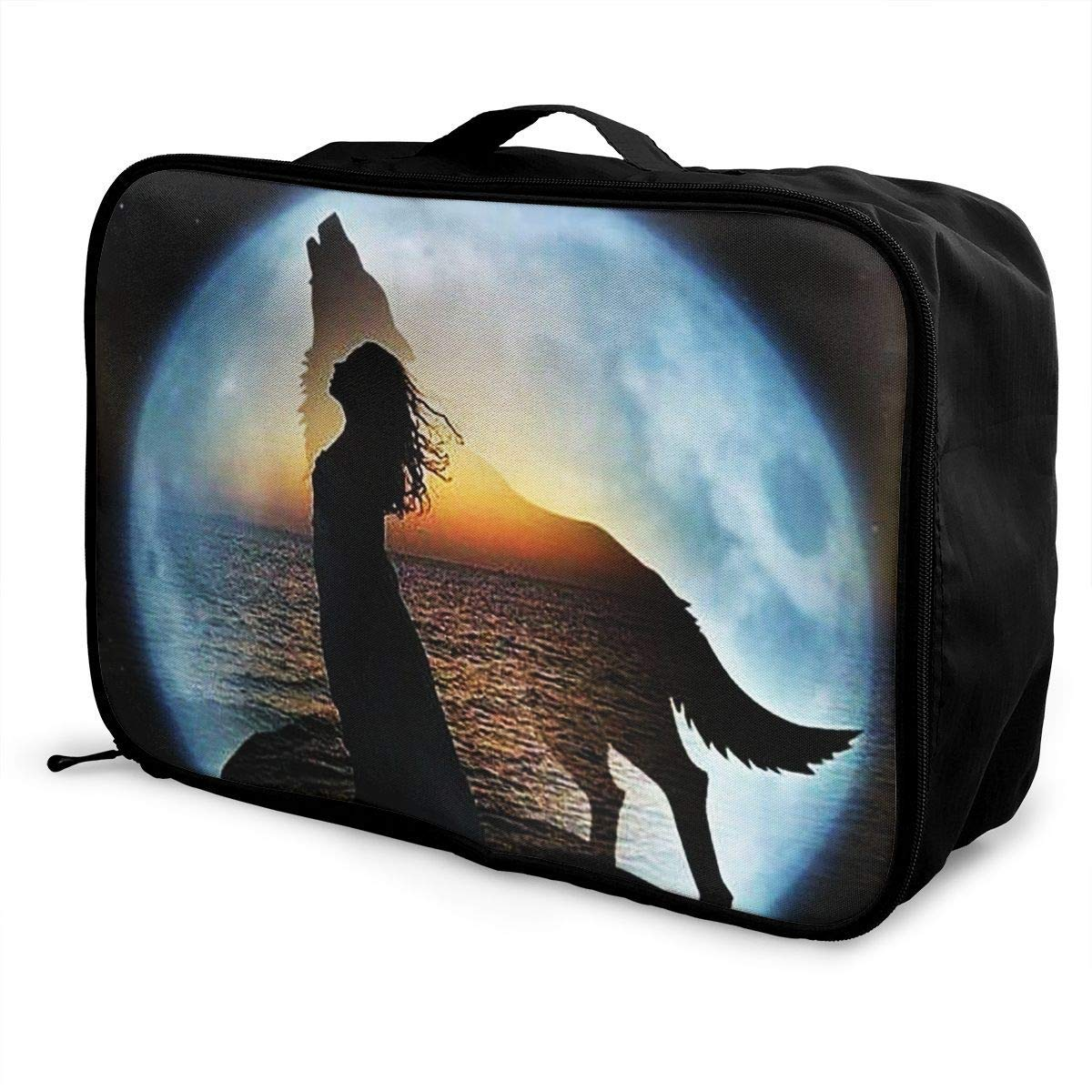 Portable Luggage Duffel Bag Girl Wolf Travel Bags Carry-on In Trolley Handle