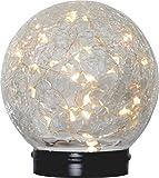 """Hochdekorative LED SOLAR KUGEL """" CRUSH """" in crackle glass Optik mit einer New Drops / LED Draht - Lichterkette mit 30 Brennstellen - mit Dämmerungssensor - schaltet sich bei Dunkelheit automatisch ein - Größe 12 cm x 12 cm - integriertes Solar-Panel - wunderschöner Effekt - perfekt als Garten - Tisch - und Terassen - Beleuchtung ohne Steckdose und Kabel - zur Auswahl stehen mit Standfuss zum HINSTELLEN oder mit Aufhänger zum HINHÄNGEN - NEU aus dem KAMACA-SHOP (mit Standfuss)"""