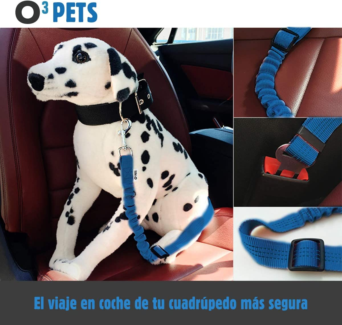O³ PETS Cinturon Perro Coche Homologado 2 Unidades Elásticos con ...