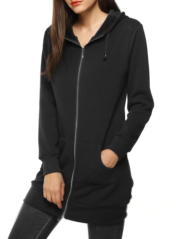 10853990801 Amazon.com  Zeagoo Women Casual Zip up Fleece Hoodies Tunic Sweatshirt Long  Hoodie Jacket Black  Clothing