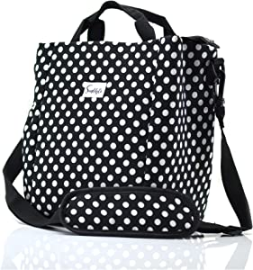 Simplily Co. Insulated Lunch Bag with Shoulder Strap and Drink Side Pocket, Black and White Polka Dots (9 inches tall)
