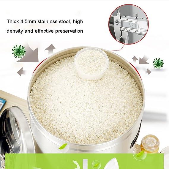 Dispensadores de cereales Caja de almacenamiento de arroz Acero inoxidable con tapa Caja de almacenamiento Cerrado en el hogar Cilindro de arroz Artículos ...
