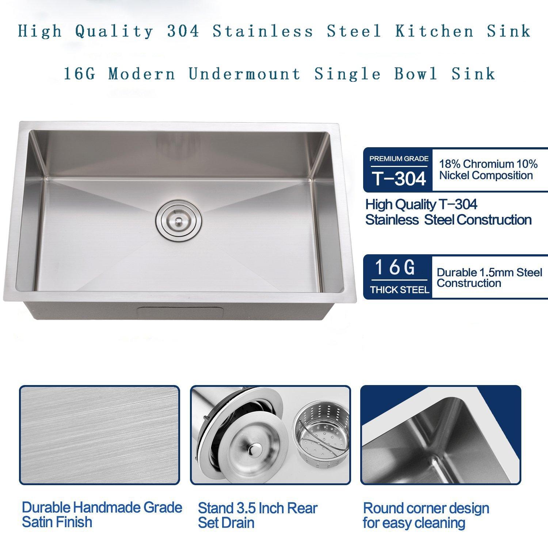 Bokaiya Commercial 30 Undermount Stainless Steel Kitchen Sink, Deep ...