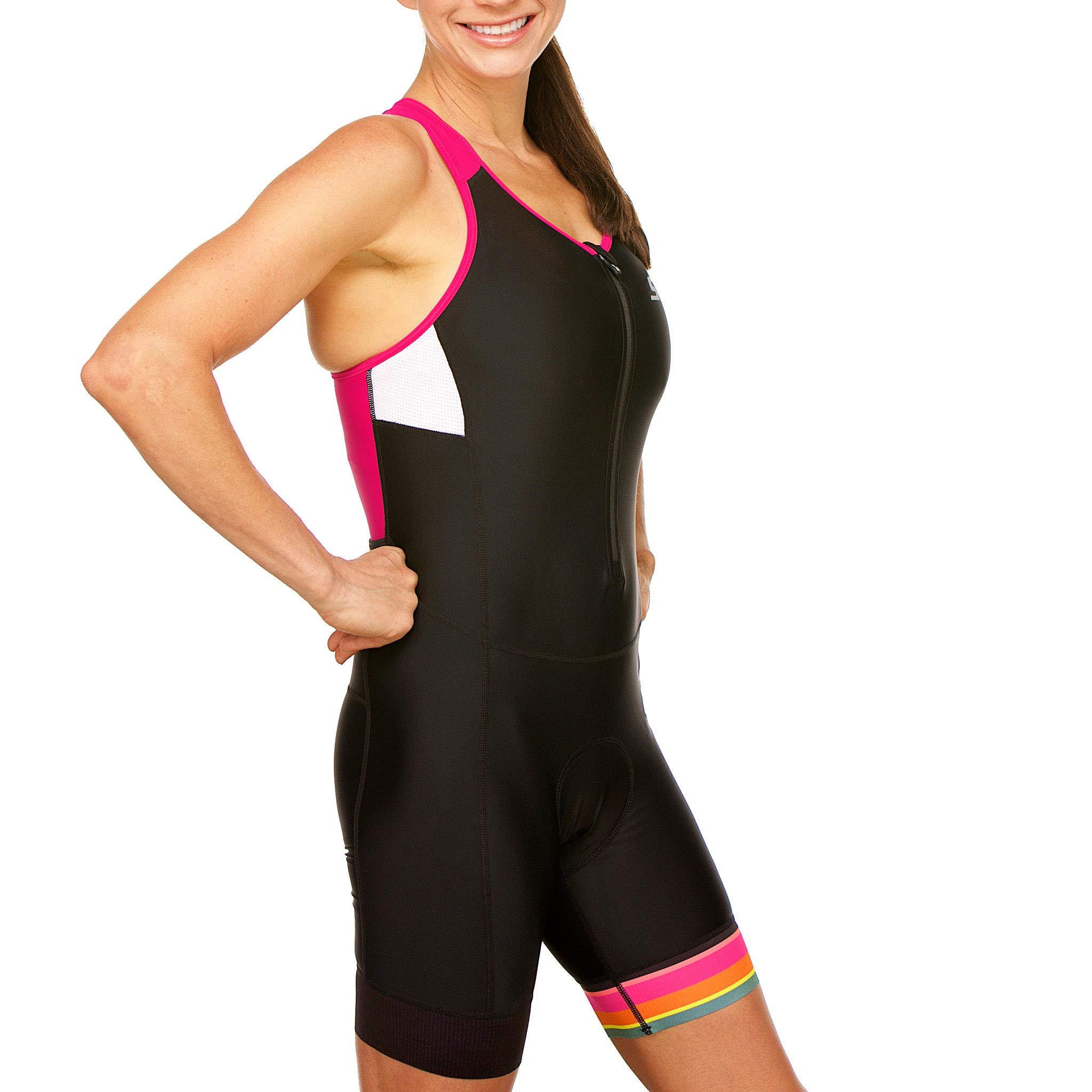 SLS3 Women`s Triathlon Tri Race Suit FRT | Womens Trisuit | Back Pocket Triathlon Suits | Anti-Friction Seams | German Designed (Black/Bright Rose, L) by SLS3 (Image #6)